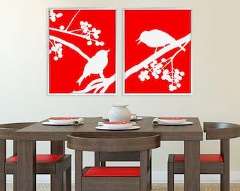 Bird on Branch, Bird Print, Bird Poster, Bird Wall Decor, Bird Wall Art, Woodland, Nature, Home Decor, Nursery Art Print, Modern, Summer