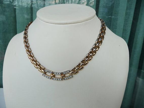 Vintage Gold Choker, Rhinestone Necklace, Bridal C