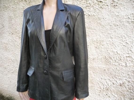 Women black leather blazer jacket, Genuine leather