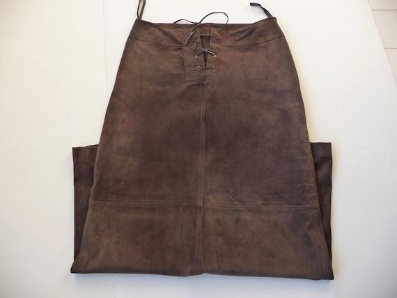 Long leather suede skirt, Brown women skirt, Full