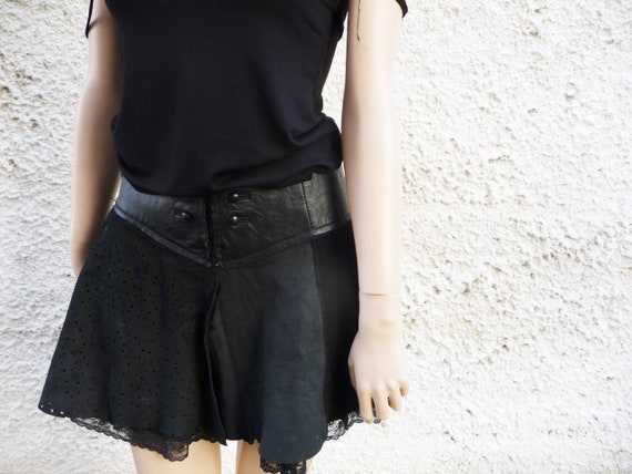 Mini leather black skirt, Gothic lace skirt women,