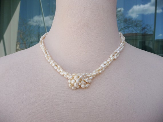 Women vintage pearl necklace, 3 Strand Freshwater