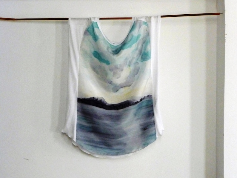 Beach wearable clothing Silk hand painted Trendy top Sleeveless tunic Loose white blouse Unique clothing silk tee painted