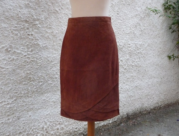 Women Suede skirt / Leather skirt / High waisted s