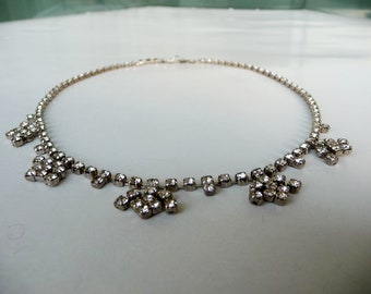 Necklace for elegant women, Crystal necklace rhinestone, Dainty short choker, Evening party necklace, Bib rhinestone necklace, vtg jewelry