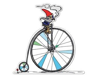 Gnome Bike Sticker- Gnome Decal- Bike Sticker- Bike Art - gnome - Vinyl decal by Ashley Bell