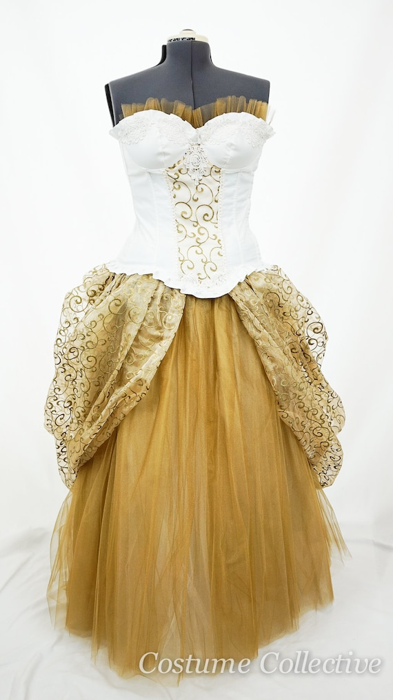 Plus size, white and Gold Corset Dress with peplum and tulle skirt for  prom, wedding, quinceanera, burlesque, special occasion