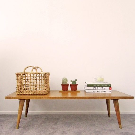 Handmade Mid Century Coffee Table: Mid Century Inspired Handmade Wooden Coffee Table/entryway
