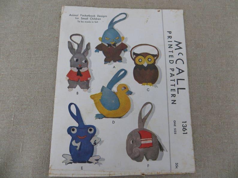 Cute Children/'s pursepocketbook Owl Rabbit Elephant Duck Frog Humptydumpty Vintage 1947 Small Felt Animal Purse Pattern McCall 1361
