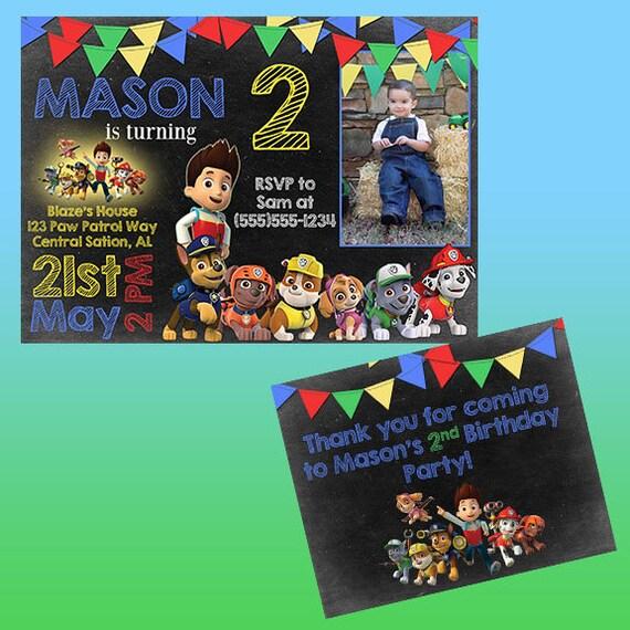 Paw Patrol 1st Birthday Invitation Set Digital File