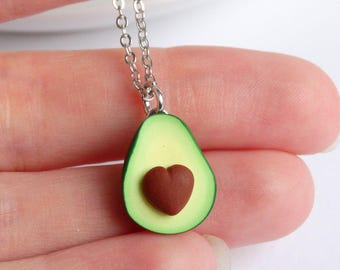 Green avocado superfood necklace heart pit avocado pendant charm avocado accessoiries food miniature healthfreak present avocado gift