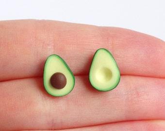 Green miniature avocado ear studs stud earrings asymmetric pair healthy food superfood funny earrings earstuds post earrings avocado