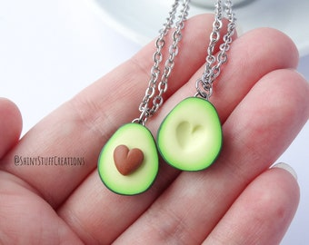 Heart avocado friendship necklace set of 2, funny bff best friend couples gift, Valentine's gift, matching necklaces for two avocado lovers