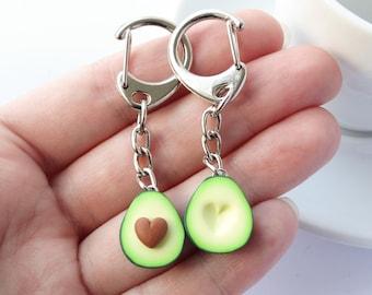 Cute green avocado friendship keychain set hearts asymmetric bff present girlfriend boyfriend avocado, funny Mother's day gift