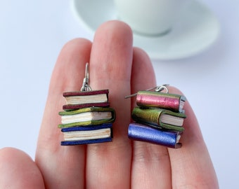 Magic book earrings holo colour shifting fantasy quirky glitter fancy funny dangle earrings book lover gift sterling silver earrings