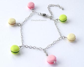 Charm bracelet heart macaroons bracelet heart macron charm bracelet pink pearls white pearls pink charm bracelet food jewelry clay jewelry