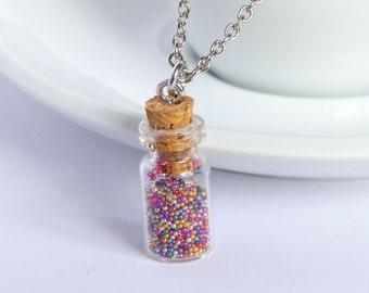 Miniature cute rainbow sprinkles candy jar glass charm necklace pendant kawaii sweet silly food jewelry doll house mini tiny