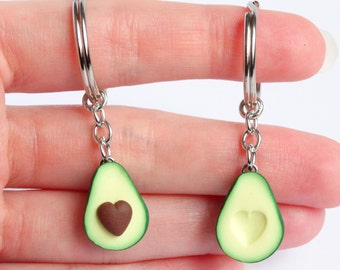 Cute green avocado friendship keychain set hearts asymmetric bff avocado gift friendship present girlfriend boyfriend avocado Valentines day