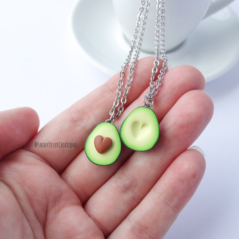 Heart avocado friendship necklace set of 2 funny bff best image 0