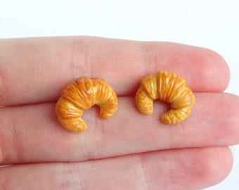 Miniature croissant ear studs stud earrings breakfast kawaii French cute food tiny mini food lover present gift croissant post earrings
