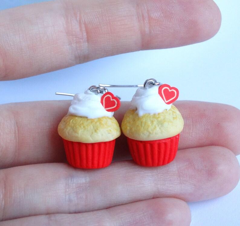 Cute red heart cupcake dangle earrings red Love miniature food jewelry Valentine/'s day present gift handmade kawaii earrings