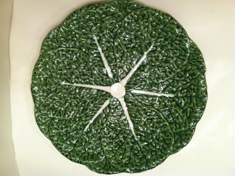 Majolica Cabbage Platter Made In Portugal