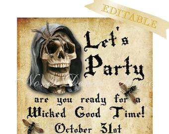 Editable Halloween Invitation, Digital Download, Printable by No. 9