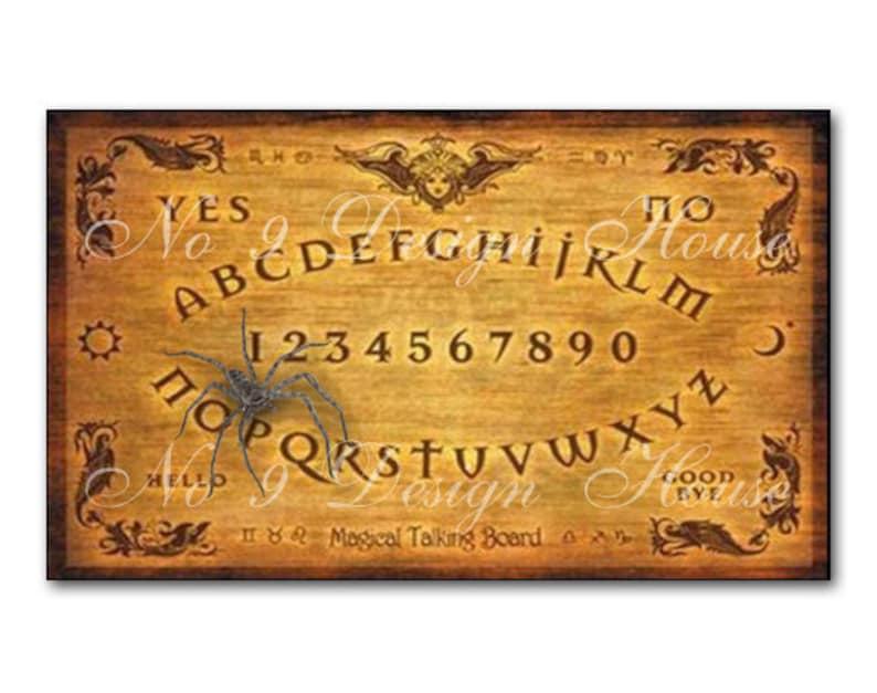 photograph regarding Printable Ouija Board known as Printable Ouija Board Electronic Down load Common Halloween Ouiji Board Picture, Printable Halloween Present Tags, ACEO ATC, Halloween Collage
