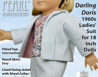 L&P #1964: Darling Doris 1960s Ladies' Suit Pattern for 18 inch dolls — lined swing jacket, fitted top and retro-style pencil skirt
