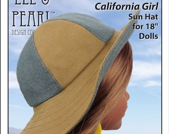L&P #1017: California Girl Sun Hat Pattern for 18 inch dolls — a perfectly-fitted summer hat, with a wide brim and tons of variations