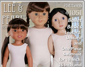 L&P #1051: Ballet Basics Leotard, Unitard and One Piece Swimsuit Pattern for 18 Inch, 16 Inch and 14 1/2 Inch Dolls