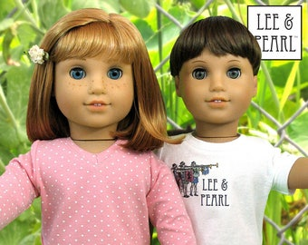 "L&P #1001: Unisex T-shirts Pattern for 18 Inch Dolls — make your own ""plain white tee's"" for dolls, with neckline and sleeve variations"