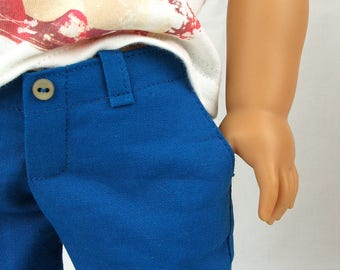 "L&P #1004: ""Boy Style"" Pants and Cargo Shorts Pattern for 18 inch dolls — includes our famous ""no crack back"" waistband for a perfect fit"