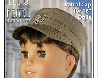 L&P #1006: Patrol Cap Pattern for 18 Inch Dolls — perfect casual hat for uniforms, or just for fun