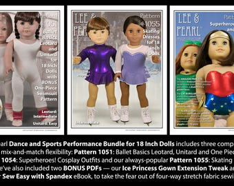 Dance and Sports Performance Pattern BUNDLE for 18 Inch Dolls includes our skating dress, leotard, unitard, swimsuit, and cosplay bodysuits