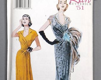 B6927 | 8-10-12 | Butterick 6927 Retro '51 Women's Sewing Pattern 1950s 1951 Vintage Reprint Evening Gown Dress Formal Sweetheart Neckline