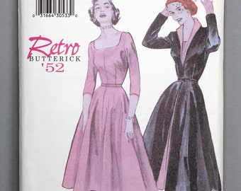 B6307 | 6-8-10 | Butterick 6307 Retro '52 Women's Sewing Pattern 1950s 1952 Vintage Reprint Fit and Flare Dress, Overdress or Coat, Belt