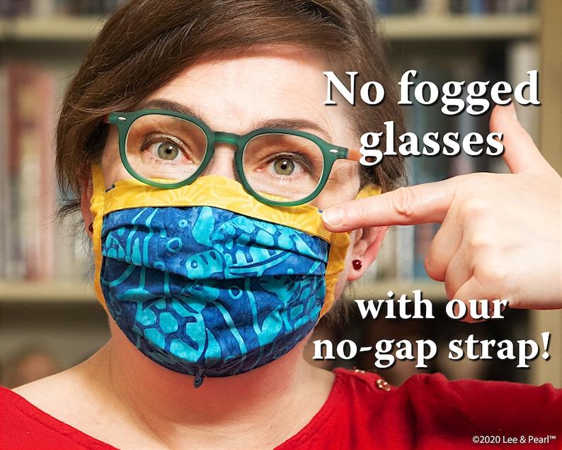 Batik  Fabric Face Mask w/ Anti Fog No-Gap Strap Fabric Ties image 0