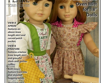 L&P #1022: Cookie Time Apron, Pinafore and Oven Mitt Pattern for 18 inch dolls — with ruffle variations for every season