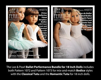L&P Ballet Performance PATTERN BUNDLE for 18 inch dolls: includes #1072 (Bodice, Romantic Tutu) and #1073 (Strapless Bodice, Classical Tutu)