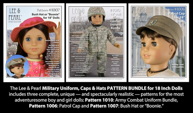 L&P Military Uniform Pattern Bundle for 18 inch dolls such as image 0