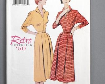 B6238 | 8-10-12 | Butterick 6238 Retro '50 Women's Sewing Pattern 1950s 1950 Vintage Reprint Dress Dolman Sleeve V-Neckline Pleated Skirt