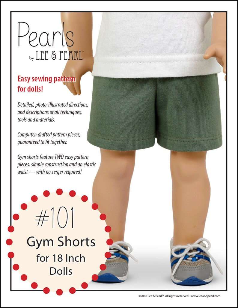 L&P 101: Gym Shorts Pattern for 18 Inch Dolls such as American image 0