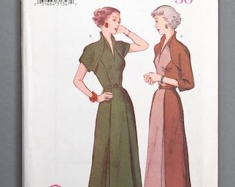 B6523 | 6-8-10 | Butterick 6523 Retro '50 Women's Sewing Pattern 1950s 1950 Vintage Reprint Dress Faux Bolero Raised Neckline Pleated Skirt