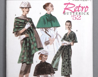 B4927 | Sml-Med-Lrg | Butterick 4927 Retro '52 Women's Sewing Pattern 1950s 1952 Vintage Reprint Wrap and Capelet Accessories Outerwear