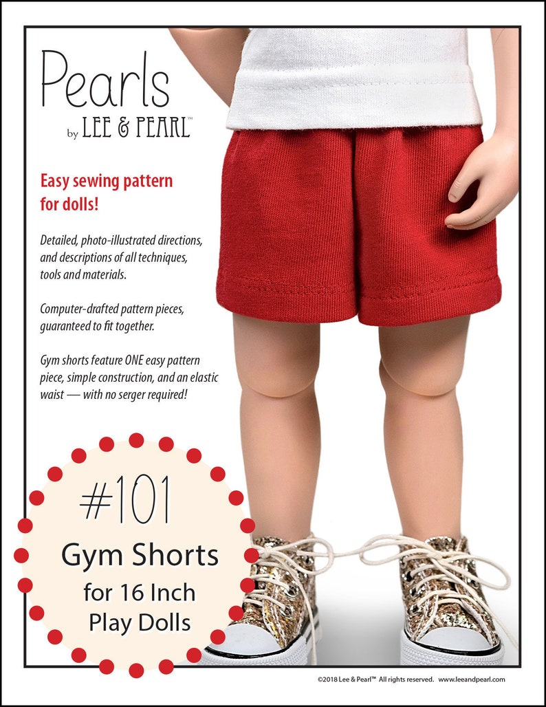 L&P 101: Gym Shorts Pattern for 16 Inch A Girl for All Time image 0
