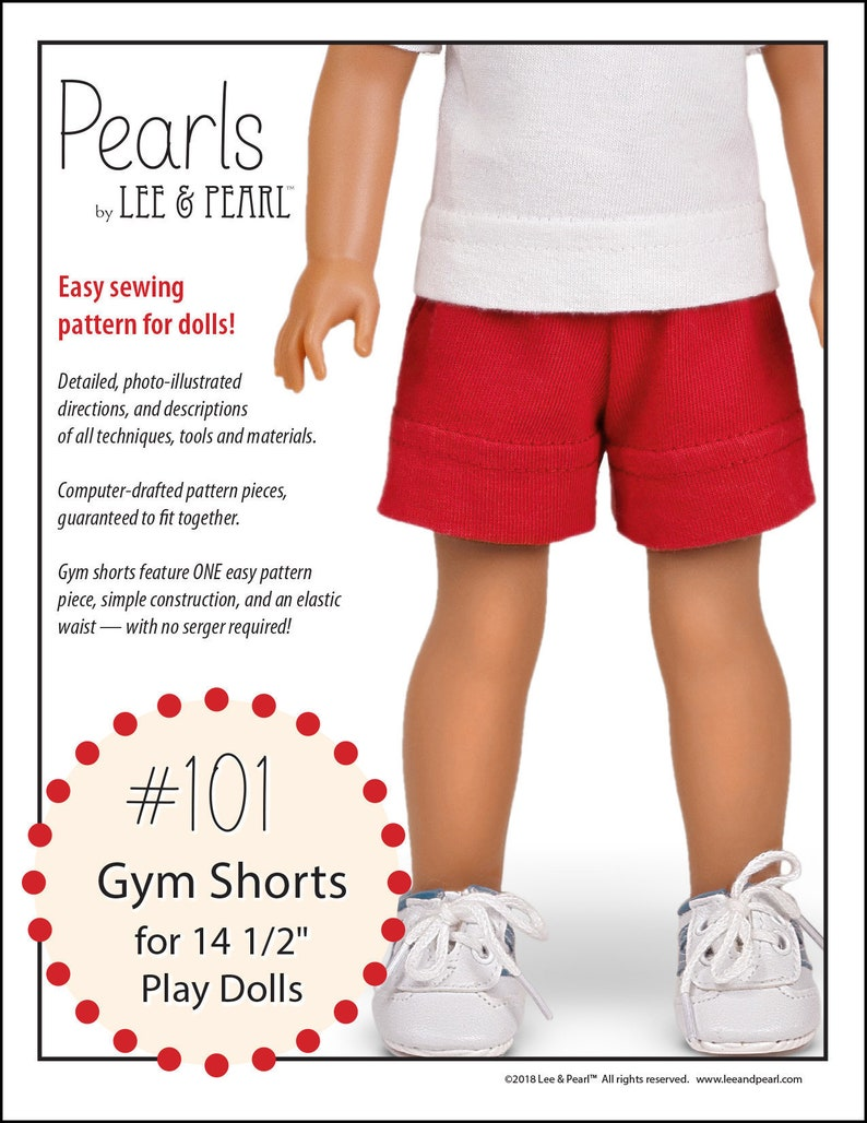 L&P 101: Gym Shorts Pattern for 14 1/2 Inch Wellie Wisher and image 0