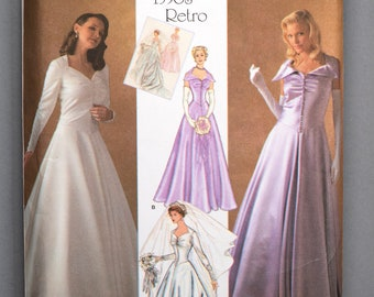 S4259 | 6-8-10-12-14 | Simplicity 4259 1950s Retro Women's Sewing Pattern Bridal Evening Bridesmaid Gown Sweetheart Neckline Dropped Waist