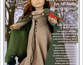 L&P #3001: Medieval Lady's Wardrobe Pattern for 18 inch dolls, c. 1330-1450 — historically accurate shift, kirtle (dress) and mantle (cloak)