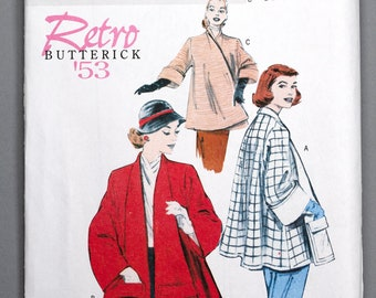 B5716 | Lrg-Xlg-Xxl | Butterick 5716 Retro '53 Women's Sewing Pattern 1950s 1953 Vintage Reprint Swing Coat Lined Turned Collar Pockets